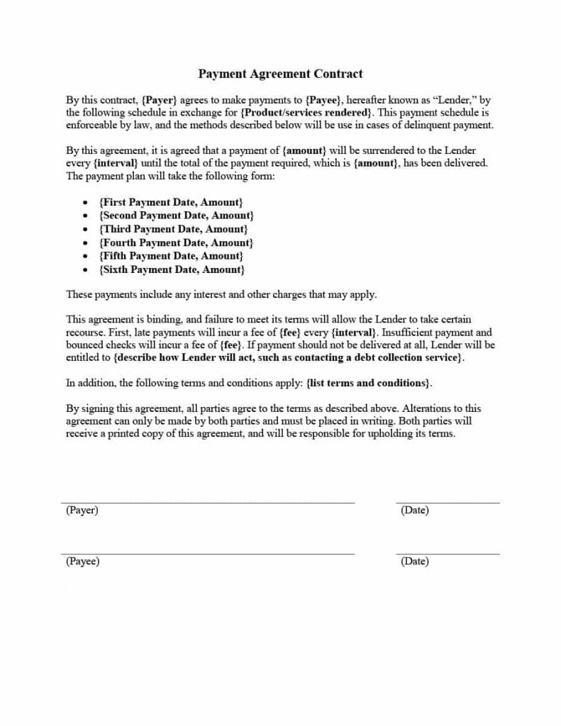 Payment Agreement Contract in MS Word