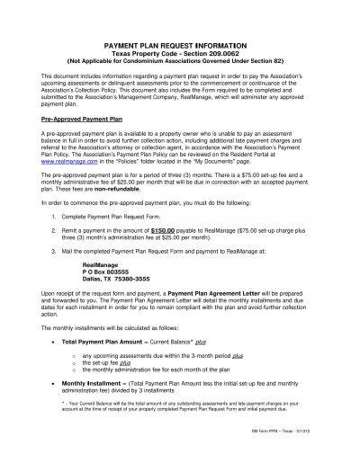Payment Terms & Payment Plan Request Information Letter
