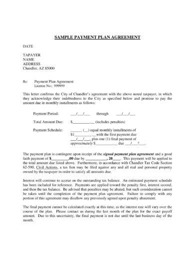 Sample Payment term and Plan Agreement Letter