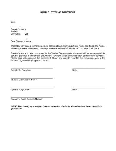 Standard Sample letter of agreement for Payment Example