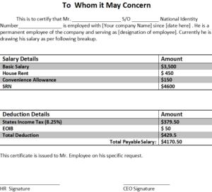 Format of Salary Slip in Word