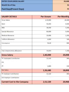 MS Word Salary Slip Format