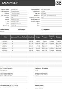 Salary Slip Excel Template