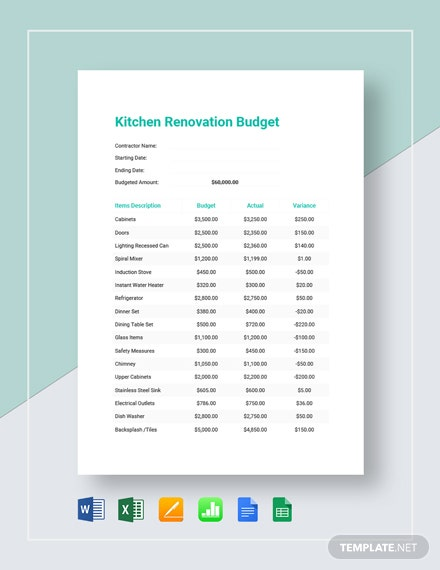 Printable Kitchen Renovation Budget Template