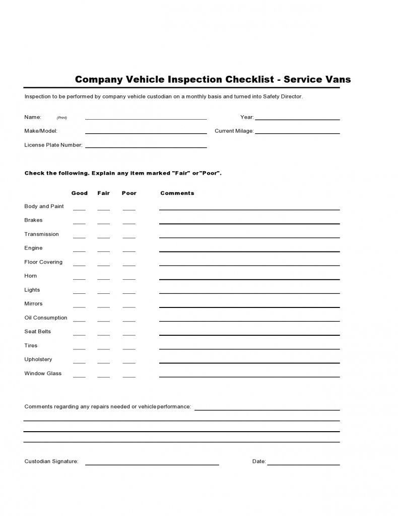 Service Van Inspection checklist
