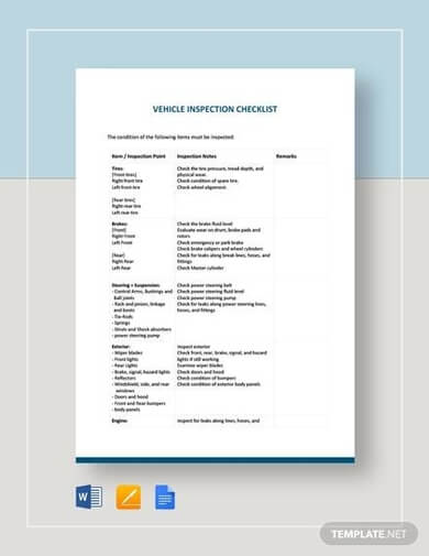 Simple Vehicle Inspection Checklist