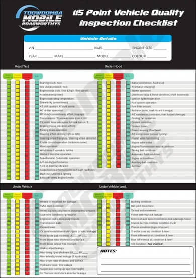 Vehicle Quality Inspection Checklist