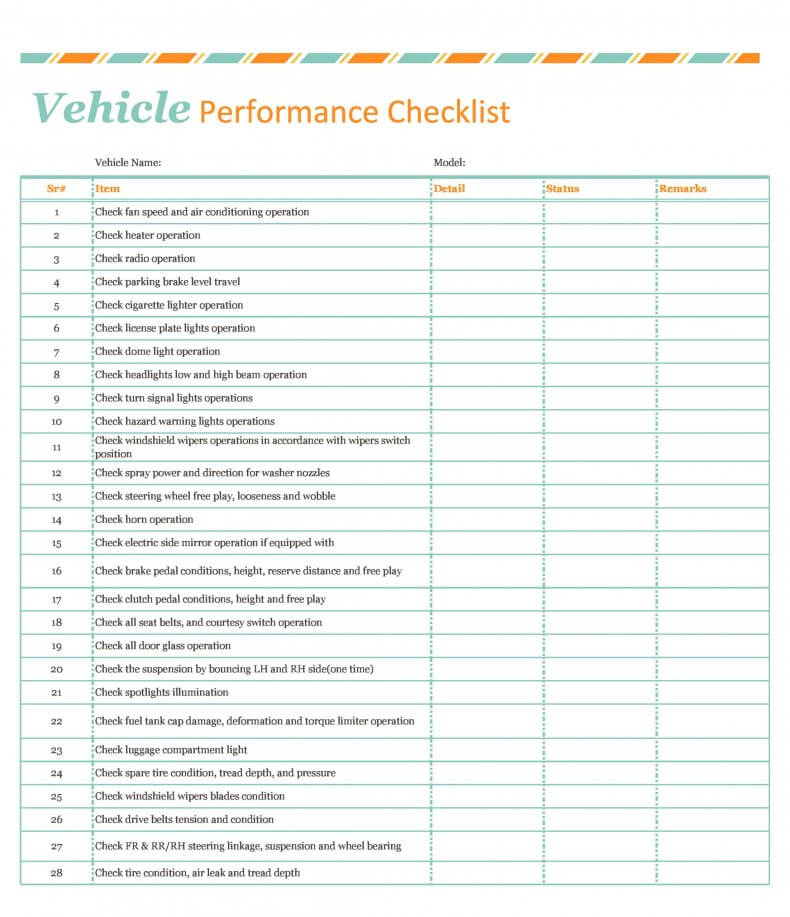 vehicle performanc checklist