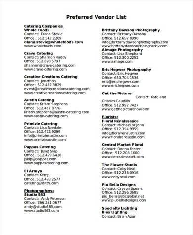 Preferred Vendor List in DOC