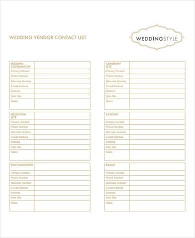 Wedding Vendor Contact List Template