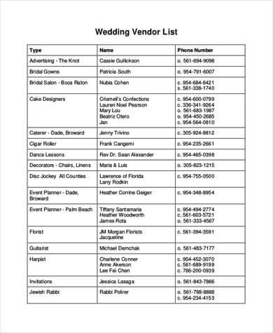 Wedding-Vendor-List-Template