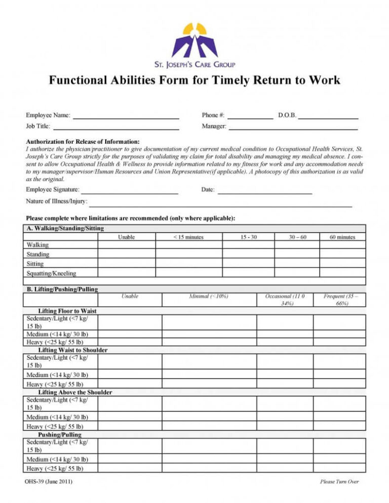 24+Return To Work Form & Physician's Work Release Form