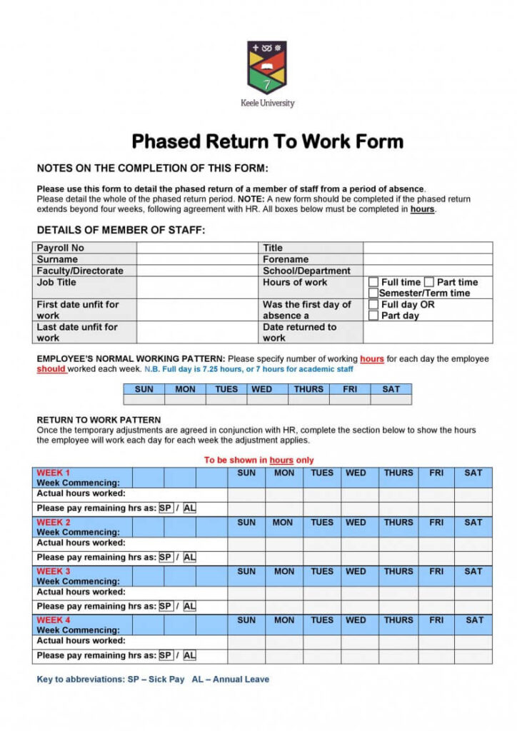 Phased return to work form