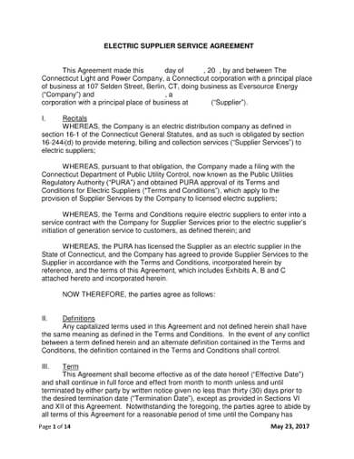Electric Supplier Service Agreement Template ( Agreement between owner and electrical contractor )