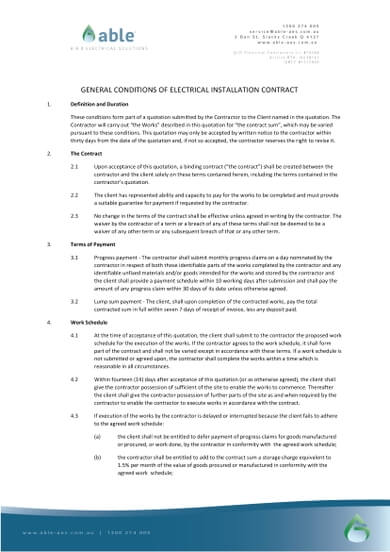 Standard Format of a General Conditions of Electrical Installation Contract Template