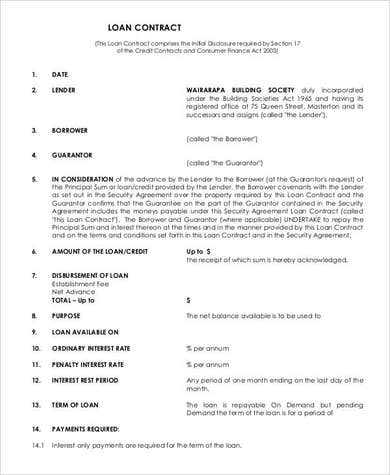 Loan Repayment Contract Agreement with Conditions