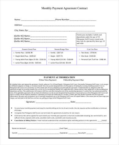 Monthly Payment Plan Template ( With Agreement)