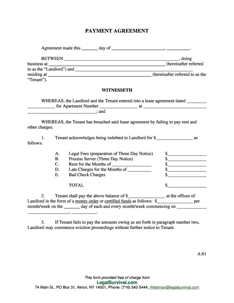 Payment Contract Agreement Sample