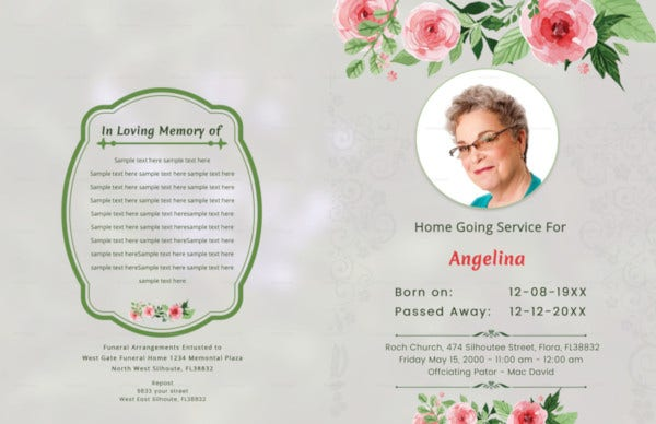 Funeral Ceremony Order of Service Brochure Template