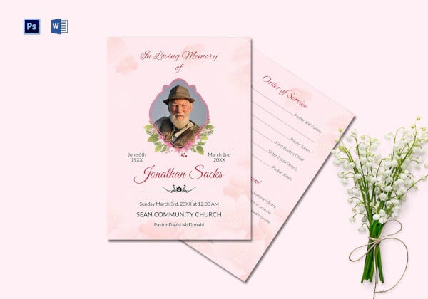 Funeral Order of Service Program in PSD Format