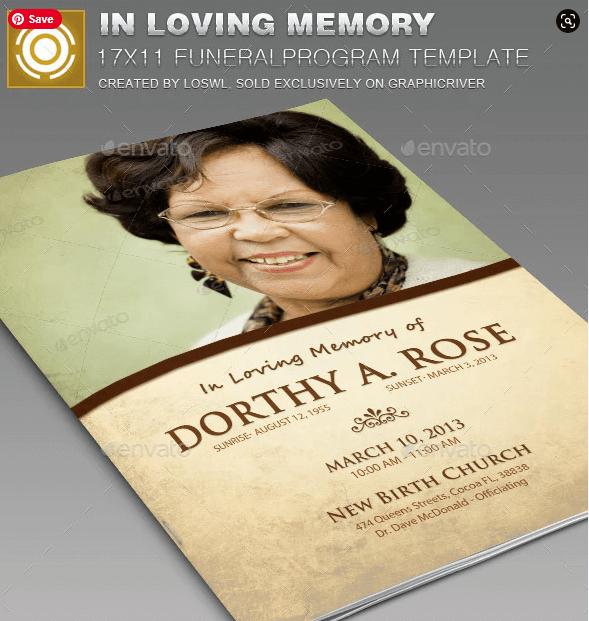 In Loving Memory Funeral Program Template