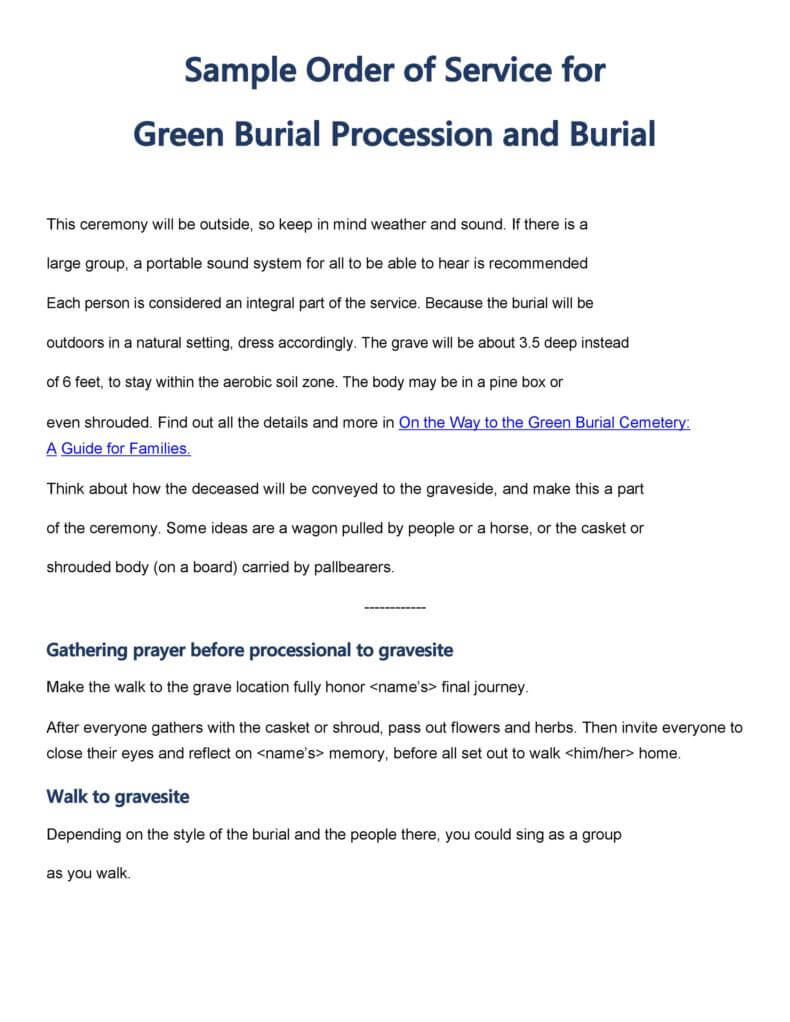 Sample Funeral Order of Service For Green Burial Procession