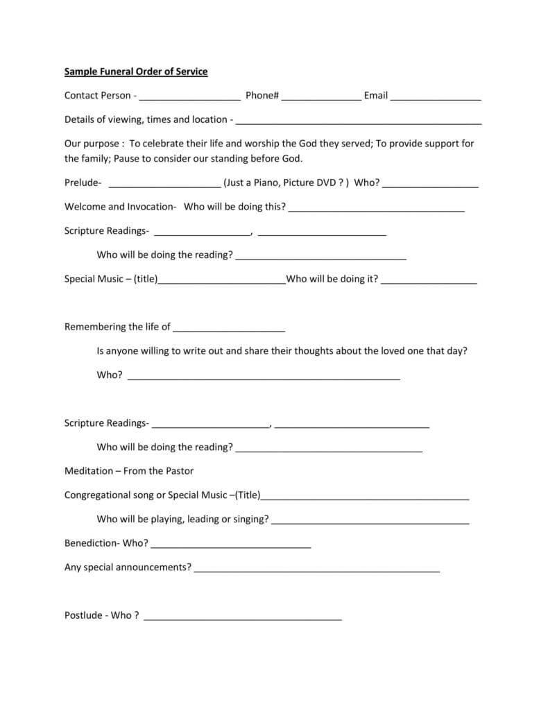 Sample funeral program order of service pdf